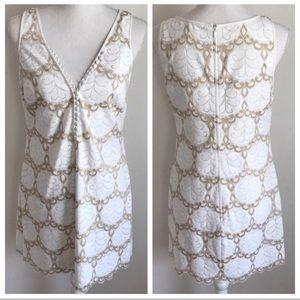 Lilly Pulitzer Lace Nadine white/gold lace dress